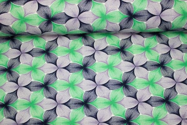 Viskosejersey Big Knit lime-flieder-navy Ökotex 100