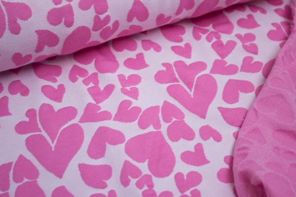 Jacquard Jersey Doubleface Flying Hearts Rosa-Pink Ökotex 100