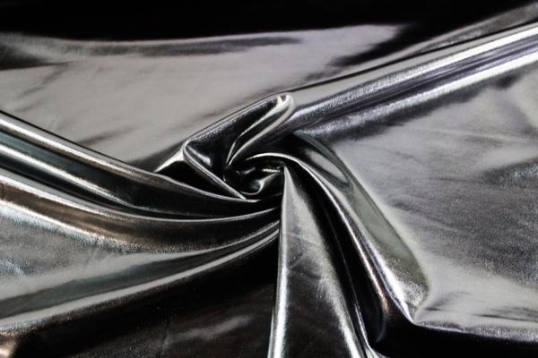 Folienjersey - Jersey Metallic schwarz Ökotex 100