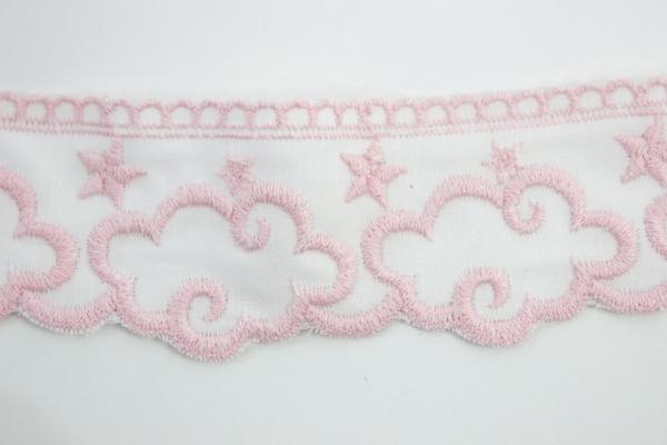 Bestickte Baumwoll Borte Wolken rosa 5cm Ökotex 100