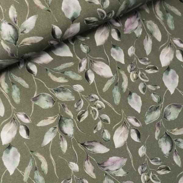 Canvas DIGITAL Vintage Leaves oliv