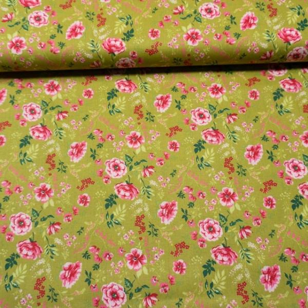 Baumwollwebware Sweet Flowers pistazie