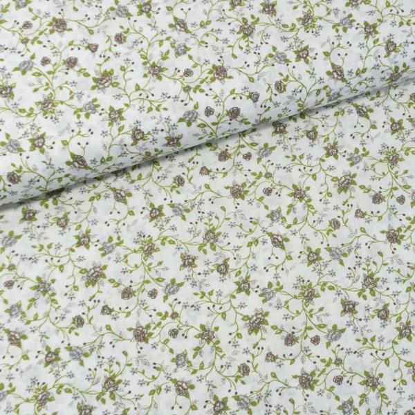 Baumwollwebware Italienische Kollektion Blütenranken grau Ökotex 100