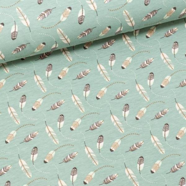 Baumwolljersey Little Feathers dusty mint