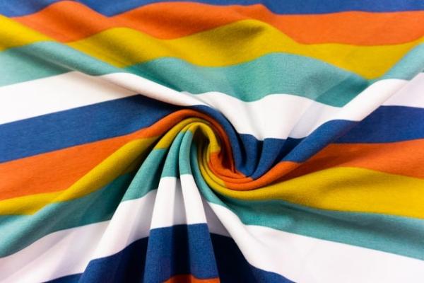 Sweat French Terry Preppy Stripes jeans-terra-senf-dusty mint Ökotex 100