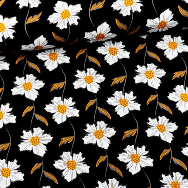 Baumwollwebware Blumentanz schwarz