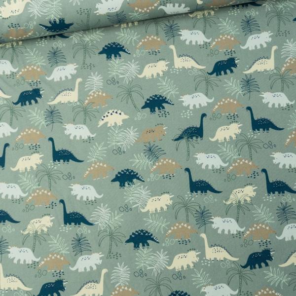 Baumwollwebware Dinos & Leaves dusty mint