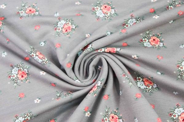 Sweat unangeraut kleine Rosen grau Ökotex 100