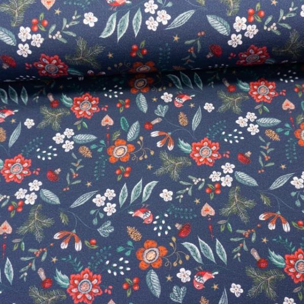 French Terry Digital Ollyflowers jeansblau