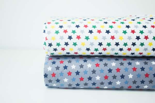 """ Stars "" grau-weiß-blau-dunkelgrau-rot-navy Baumwolljersey Öko Tex 100"