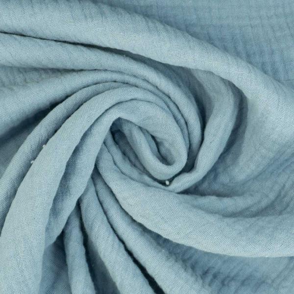 Musselin Double Gauze Uni jeansblau hell 100% Baumwolle Ökotex 100