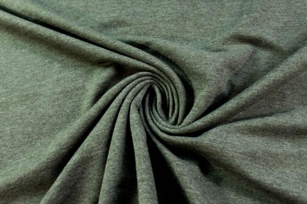 Organic Sweat BLACKMELIERT khaki unangeraut - French Terry Ökotex 100