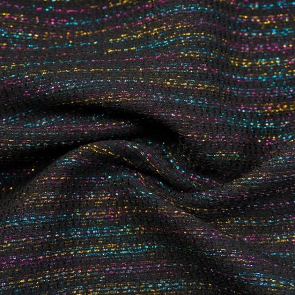 Jacquard Dekostoff Rainbow Stripes schwarz