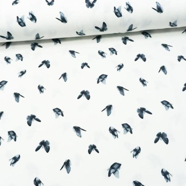 Baumwolljersey Aquarell Butterfly ecru-jeansblau