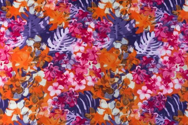 Viskose Blätter pink orange lila Ökotex 100