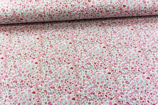 Baumwolljersey Kleingeblümt weiß-rosa Ökotex 100