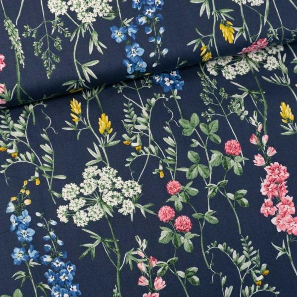 Gütermann Baumwollwebware Timeless Wildblumen jeansblau dunkel