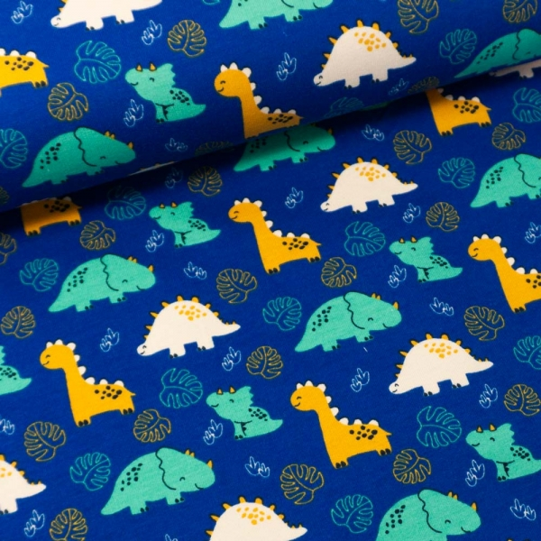 Sommersweat French Terry Little Dinos navy