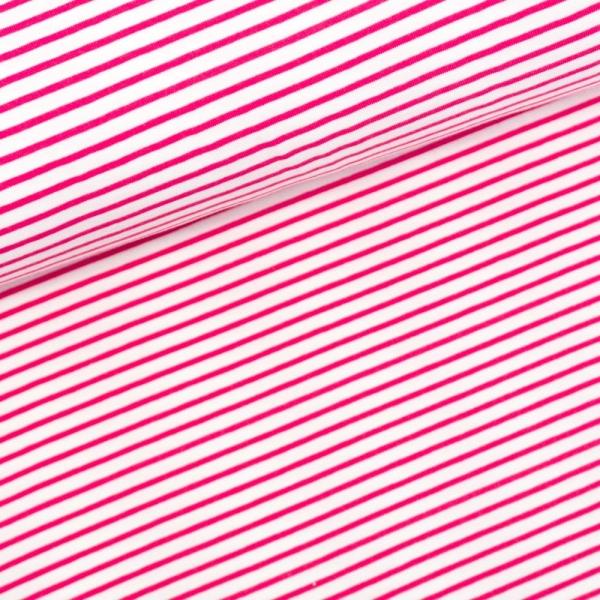 Baumwolljersey Small Stripes weiß-pink