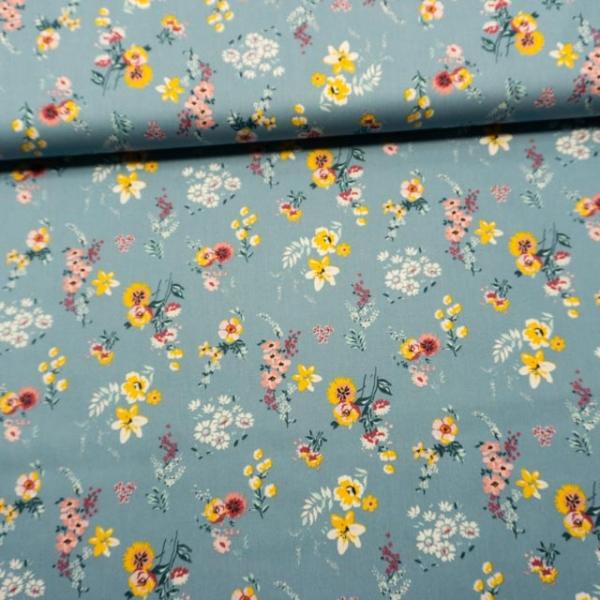 Baumwollwebware Flowery jeansblau