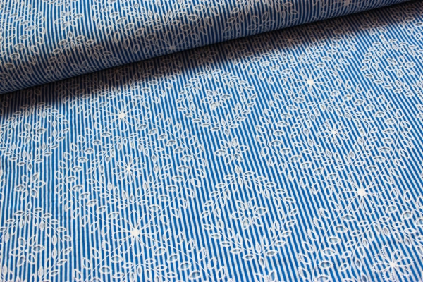 Viskose Chiffon Rosa Streifen jeansblau Öko tex 100
