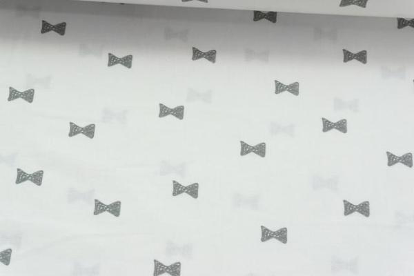 Baumwolle/Webware Schleifen weiß-grau Ökotex 100