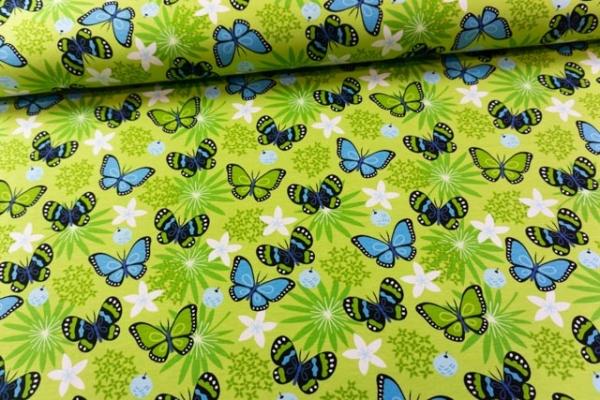 Baumwolljersey Sweet Butterfly lime-blau Ökotex 100