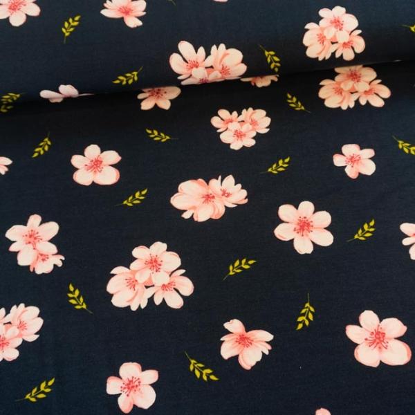 Modaljersey Cherry Blossom navy Ökotex 100 100% Vegan
