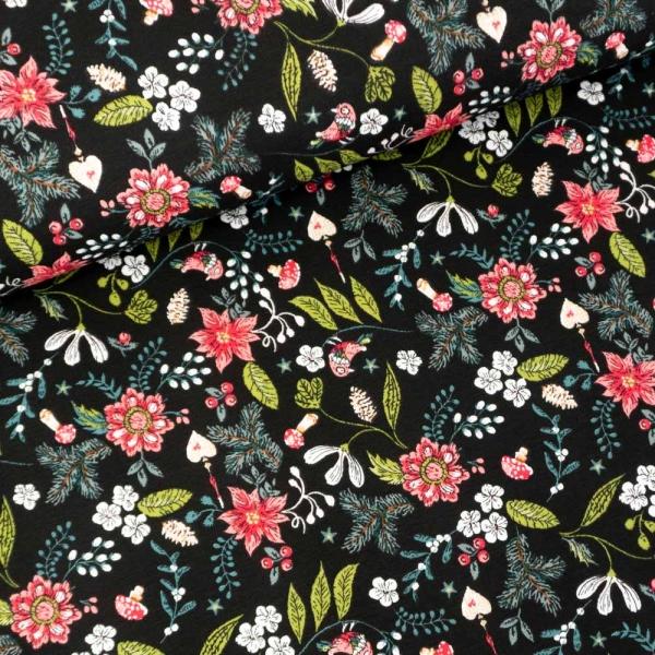 Baumwolljersey Flowers And Mushrooms schwarz