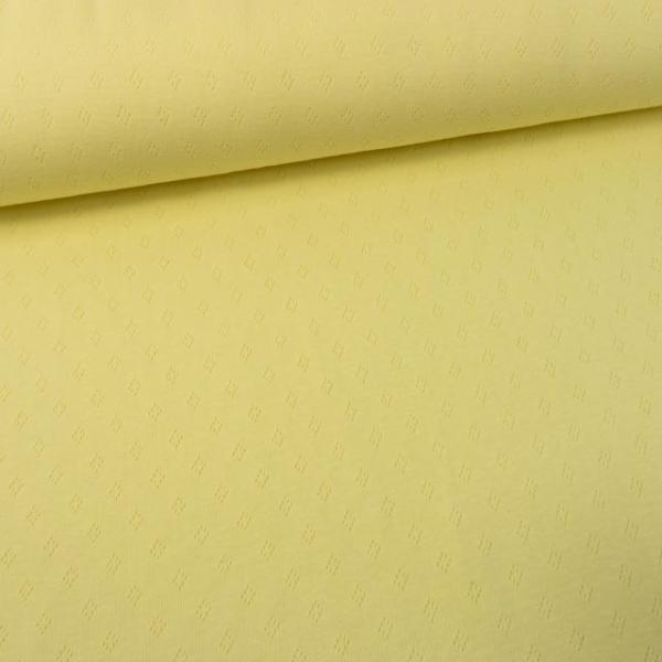 90 cm Stück Baumwoll Lochstrick Jersey pastellgelb