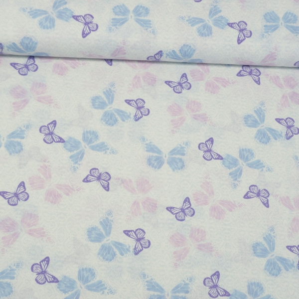 Baumwollwebware Schmetterlinge ecru-hellblau