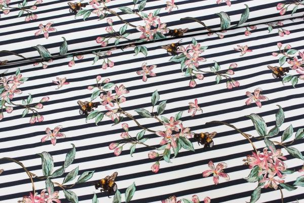 Baumwolljersey DIGITAL Stripy Bee weiß-navy Öko Tex 100