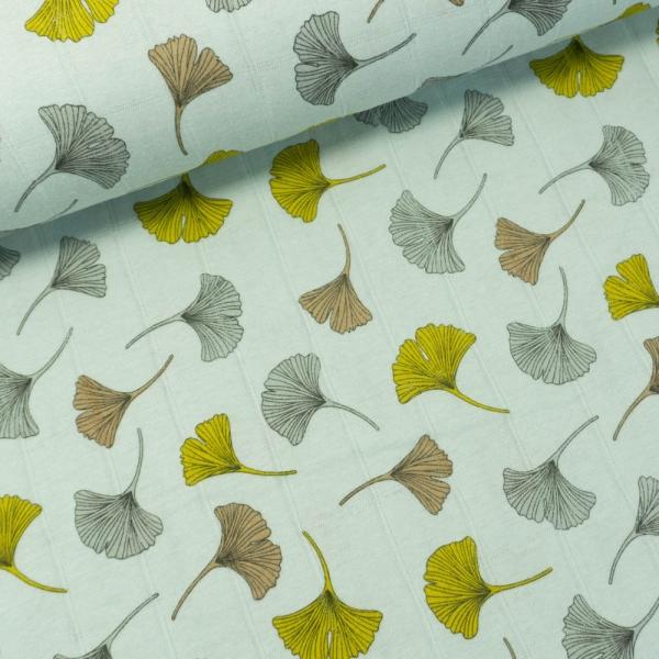 Musselin Jersey Double Ginko Blätter dusty mint