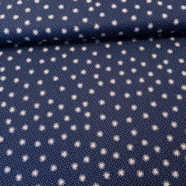 Edle Baumwollwebware Sternblume navy