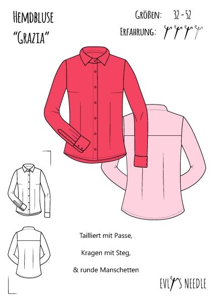 A0 Schnittbogen Hemd Bluse Grazia by EvLi's-Needle