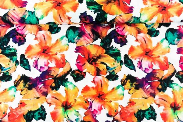 Viskose Aquarell Blume weiß Ökotex 100