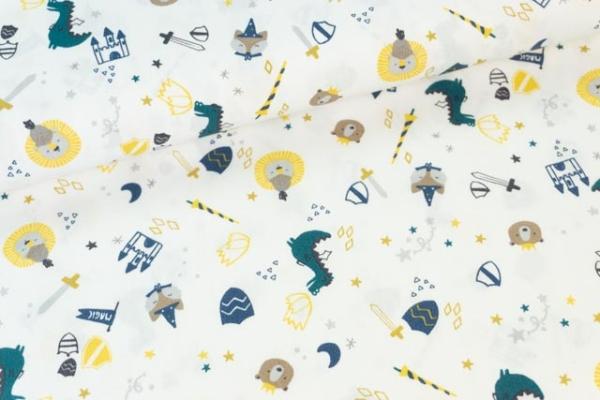 Baumwollwebware Drachenwelt weiß Ökotex 100