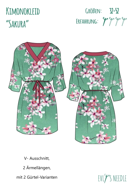Papierschnitt Kimonokleid SAKURA by EvLis-Needle