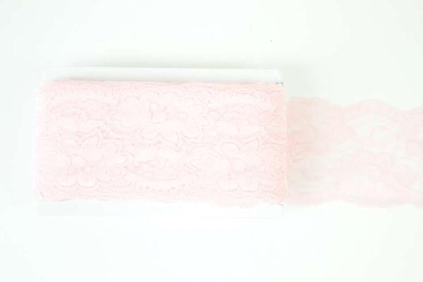 Elastische Spitzenborte Rosen rosa 8cm
