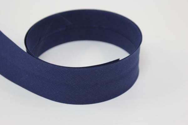 Schrägband 2cm oder 4cm breit vorgefalzt dunkelblau Ökotex 100