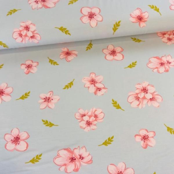 Modaljersey Cherry Blossom grau Ökotex 100 100% Vegan