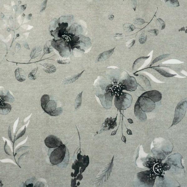 Bio-Baumwolljersey Melange Berry Bloom grau