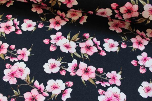 Baumwolljersey Cherry Blossom navy Öko Tex 100