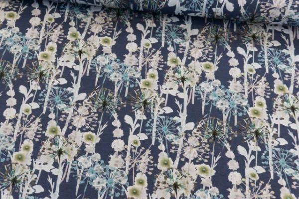 Baumwolljersey DIGITAL Verblüht aquarell jeansblau Ökotex 100