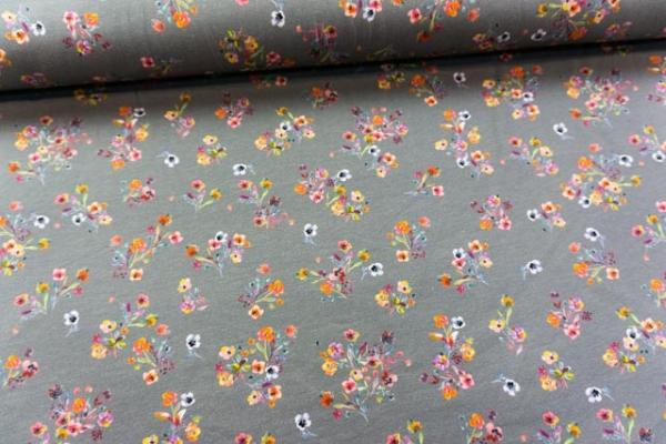 Baumwolljersey DIGITAL kleine Streublumen grau Öko Tex 100