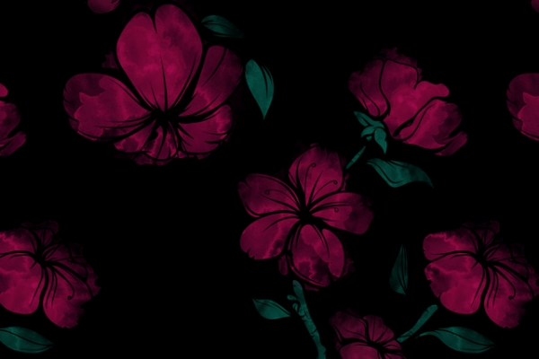 Bio-Sweat French Terry Shadowflowers black Ökotex 100