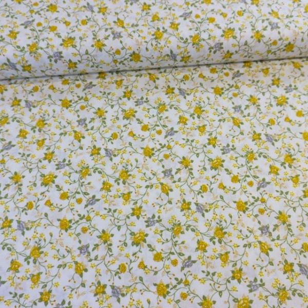 Baumwollwebware Italienische Kollektion Blütenranken senf Ökotex 100