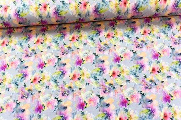 Baumwolljersey Digital Aquarell Flowers grau Ökotex 100