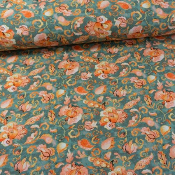 Baumwolljersey Digital Paisley Blumen dusty green
