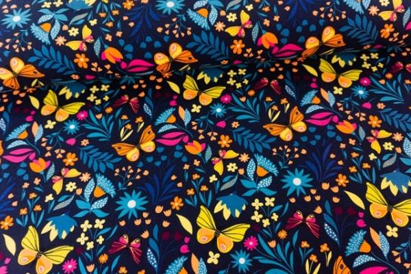 Sweat French Terry Schmetterlingsgetummel navy Ökotex 100